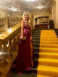 Gala dinner, evening gown, plunging neckline, red carpet dress, satin dress, long dress, maxi dress, silver clutch, Fasheebo.