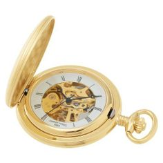 Charles-Hubert, Paris Gold-Plated Satin Finish Mechanical Pocket Watch Charles-Hubert, Paris. $64.00. Skeleton dial with roman numerals. Deluxe gift box. 14k gold-plated satin finish brass 41mm hunter case with a matching curb chain. 17 jewel mechanical movement. Save 33%!