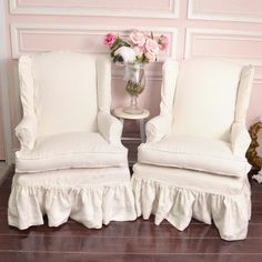 Gorgeous Pair of White Linen Slipcovered Wingback Chairs