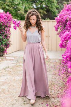Shop Skylar Belle top, scallop top, lace top, white lace top, Shop Skylar Belle top, bridesmaid lace top, bridesmaid separates, mauve maxi skirt, mauve tulle skirt, long skirt, flowy maxi skirt