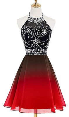 Angelformaldresses 2019 Halter Gradient Chiffon Short Prom Dresses Ombre Beads Evening Party Gowns Homecoming Dress Source by Angelformaldresses dress gowns Pretty Prom Dresses, Pretty Outfits, Homecoming Dresses, Cute Dresses, Beautiful Dresses, Short Dresses, Formal Dresses, Chiffon Dresses, Formal Prom