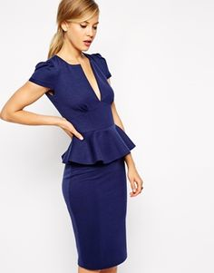 Sexy Pencil Dress with Bonded Peplum