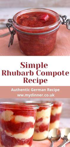 Rhubarb Jam Recipes Canning, Stewed Rhubarb Recipe, Healthy Rhubarb Recipes, Rhubarb Desserts, Summer Desserts, Strawberry Rhubarb Compote, Rhubarb Rhubarb, Rhubarb Sauce, Strawberry Pie