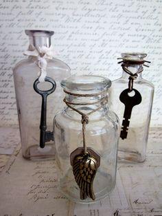 Three Antique Bottles With Vintage Skeleton keys