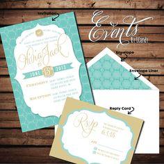 WEDDING INVITATION SAMPLE - vintage, tiffany teal with gold script and ribbon. $1.50, via Etsy.