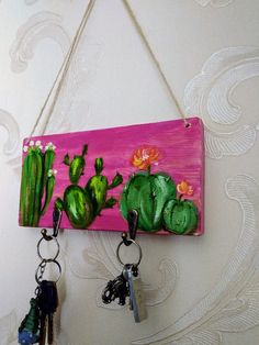 Items similar to Painted Key holder for wall Cactus towel hook kitchen key hanger Farm house holder Mini Cactus kitchen hanger Key holder home decor Cactus design Farm house decor Miniature painting on wood Wooden key organizer Towel holder Wooden Key Holder, Wall Key Holder, Cactus Craft, Cactus Decor, Paint Keys, Handmade Kitchens, Arts And Crafts, Diy Crafts, Mini Paintings