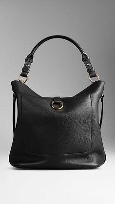 Black Medium Buckle Detail Leather Hobo Bag - Image 3
