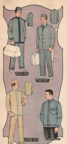 Uniforme de botones de los años 20 de un anuncio