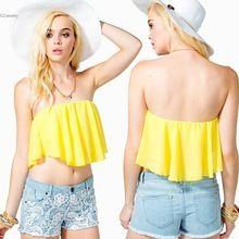 Crop Top Women Short Tank Tops Sleeveless Tops Blouse Tees Irregular Cropped Feminino Yellow Roupas Feminina //FREE Shipping Worldwide //