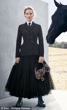 Face of Dior: Lawrence wears a variety of dresses and petticoats inspired by the Escaramuz...