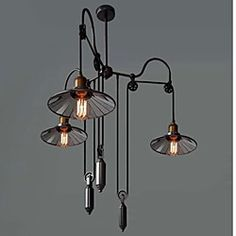 Vintage Pully Pendant Lights 3 Light Island Light Foyer pendants Dinning Pendants Study room Metal+ Galss inside shade | LightInTheBox