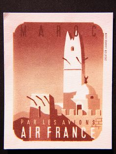 AIR FRANCE : 1938 MOROCCO Business Cards by CHEM  Cardboard and inks