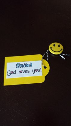 Agape Gift. Smile Jesus Loves You! Smiley face button from oriental trading, bakers twine, punched tag from yellow cardstock.