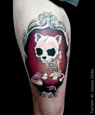 cat skull tattoo - Google Search