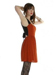 Back Tie Rust Mini Dress