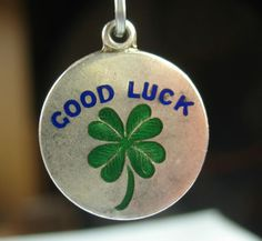 Vintage Enameled Good Luck 4-Leaf Clover Charm