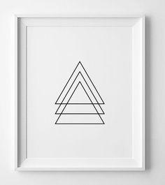 Black and white art, geometric wall art print, printable wall art, digital…