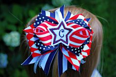 NewPatriotic Triple stacked hair bow by charminglanedesigns, $10.99