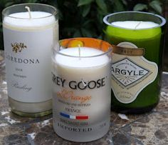 DIY Candles- recycled bottles - would be cool in a bar area