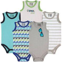Luvable Friends Newborn Baby Boys Sleeveless Bodysuit 5-Pack Boy Sunglasses, Size: 3 - 6 Months, Blue
