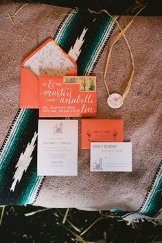 ranch inspired wedding invites, photo by Inkspot Photography http://ruffledblog.com/mexican-ranch-wedding-ideas #invitations #orange