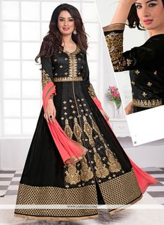 Steal the hearts away with this black georgette anarkali salwar kameez. The ethnic embroidered, patch border, resham and zari work within the attire adds a sign of splendor statement for the look. Com...