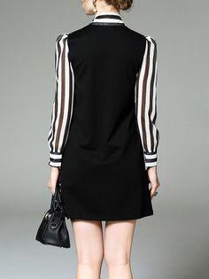 Shop Mini Dresses - Black Paneled Cotton Shift Casual Mini Dress online. Discover unique designers fashion at StyleWe.com.