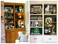 Painted Built-In Bookshelves // updating oak cabinetry // painted oak cabinets