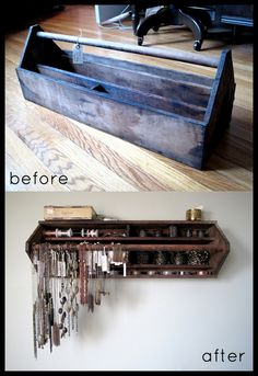Vintage old metal tool box repurposed into wall jewelry display storage rack; for arts and crafts show booth, retail display or cottage style home decor; Upcycle, Recycle, Salvage, diy, thrift, flea, repurpose!  For vintage ideas and goods shop at Estate ReSale & ReDesign, Bonita Springs, FL