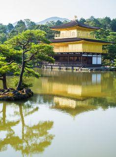 Reflections of Golden Temple(Kinkakuji), Kyoto, Japan