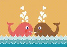 Poster walvis A4. Vrolijk de kinderkamer of babykamer op met de lieve en vrolijke poster met twee walvissen.De poster heeft een afmeting van 21 x 29,7 cm. €9,90