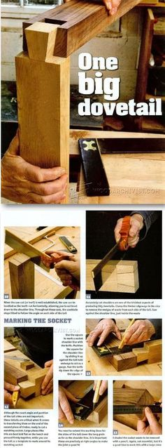 Large Dovetail Joints - Joinery Tips, Jigs and Techniques - Woodwork, Woodworking, Woodworking Tips, Woodworking Techniques Woodworking Joints, Woodworking Guide, Woodworking Techniques, Teds Woodworking, Woodworking Projects, Wood Projects For Beginners, Diy Wood Projects, Bois Diy, Wood Joints