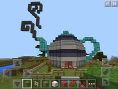 Built a cute teapot house in minecraft
