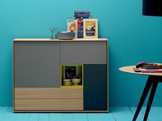 Lacquered solid wood highboard AURA S4 by TREKU design Angel Martí, Enrique Delamo