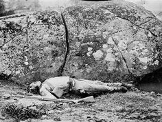 A dead Confederate soldier in the Slaughter Pen in Gettysburg.