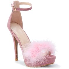 Pink Fur Embellished Platfrom Stiletto Velvet Heels ($46) ❤ liked on Polyvore featuring shoes, pumps, heels, heels stilettos, embellished heel pumps, stiletto shoes, pink pumps and pink stiletto pumps