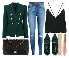 """""""street style"""" by sisaez ❤ liked on Polyvore featuring Balmain, Chanel, Andrea Marques, H&M, Too Faced Cosmetics and Stila"""