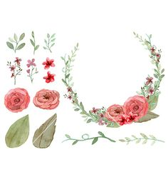 Set of flowers and leaves vector watercolor nature design by MayPS on VectorStock®