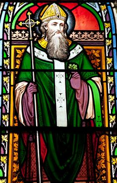 Depicted in stained glass: Saint Patrick - Patron Saint of IRELAND.