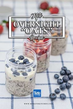 Keto Overnight Oats – Easy No Oat Breakfast Recipe. This super easy breakfast recipe is gluten free, dairy free and sugar free. It's a quick grab and go style breakfast and snack. Top with berries, granola or nut butter and chocolate chips Overnight Oats Chocolate, Overnight Oats In A Jar, Keto Foods, Keto Snacks, Keto Diet Breakfast, Breakfast Recipes, Breakfast Ideas, Mcdonalds Breakfast, Breakfast Cereal