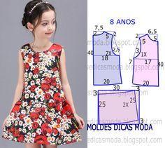 A publicação de hoje contempla o molde vestido de flores 8 anos para meninas. A ilustração do molde não tem valor de costura tem que ser acrescentado.
