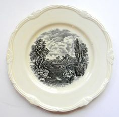 """Vintage Black Transferware 8"""" Plate / Bowl Scenic Lock on the Stour River English Earthenware Staffordshire China John Constable Painting Grindley"""