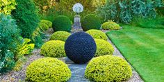 Dark Planet, modern stone sphere in a garden Garden Spheres, Garden Stones, Glass Garden, Garden Art, Yard Sculptures, Garden Sculpture, Modern Landscaping, Backyard Landscaping, Small Japanese Garden