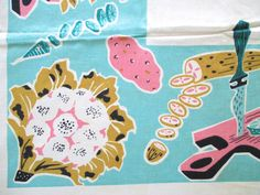 Vintage Eames Tablecloth Vegetables Aqua Blue Pink by NeatoKeen