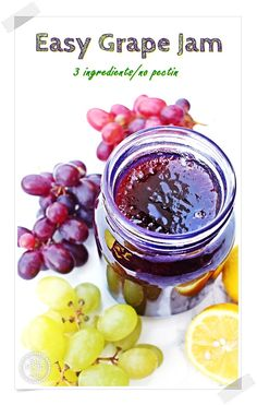Easy Grape Jam – just 3 ingredient and no pectin! If you've never had grape jam before (I hadn't), you're in for such a treat. This jam is off the scale good and so easy to make as there's no peeling grape skins! Grape Recipes, Jelly Recipes, Fruit Recipes, Vegan Recipes Easy, Real Food Recipes, Apple Recipes, Sweet Recipes, Yummy Food, Gourmet
