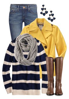"""""""Nautical Navy Stripe"""" by qtpiekelso ❤ liked on Polyvore featuring H&M, Old Navy, J.Crew, RE ENVY, Cole Haan and Blu Bijoux"""
