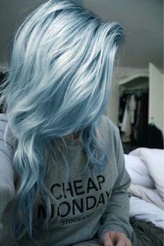 голубые волосы, девушка, гранж
