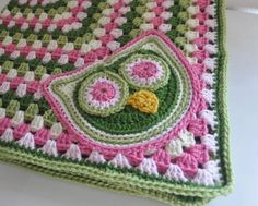 Crocheted Owl Baby Blanket