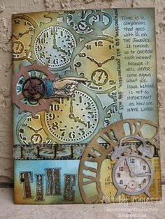 Annette's Creative Journey, uses Tim Holt distress stains, inks, markers, Weathered Clock, mini vintage alarm clock, gadget gears dies, pocket watches texture fade and other idea-ology accoutrements.  Love this!