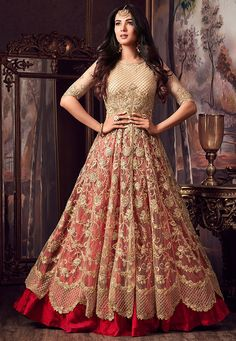 Buy Embroidered Net Lehenga in Beige and Red online, Item code: LCC235, Color: Beige, Occasion: Wedding, Bollywood Theme, Work: Contemporary, Resham, Stone Work, Zari, Fabric: Net, Gender: Women